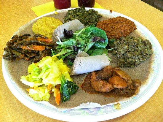 Taste of Ethiopia: The vegetarian sampler.... served atop the flatbread. YUM!