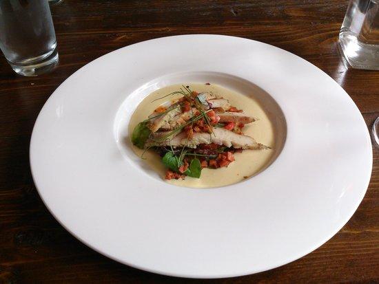 The Atelier Restaurant: smoked chicken breast starter
