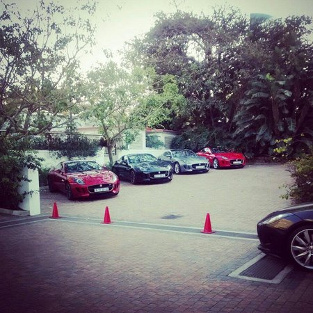 The Oyster Box: Jaguar F-type in the hotel parking lot