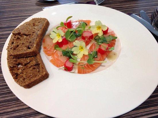 Ashfields Restaurant: Cured Scottish salmon, Yorkshire rhubarb, pink peppercorns, foraged flowers, treacle bread