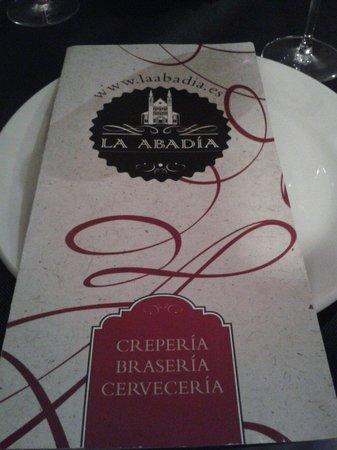 La Abadía- crepería, brasería: Portada de la carta restaurante