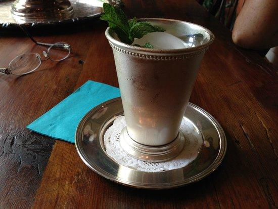 Historic Oak Hill Inn: complimentary mint julep in a silver julep cup