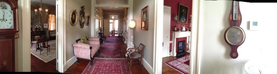 Historic Oak Hill Inn : panorama of parlor, main hall, and library (left to right)