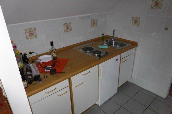 Hotel Bayerischer Wald: Die Küchenecke mit Kühlschrank...allerdings kein Geschirr