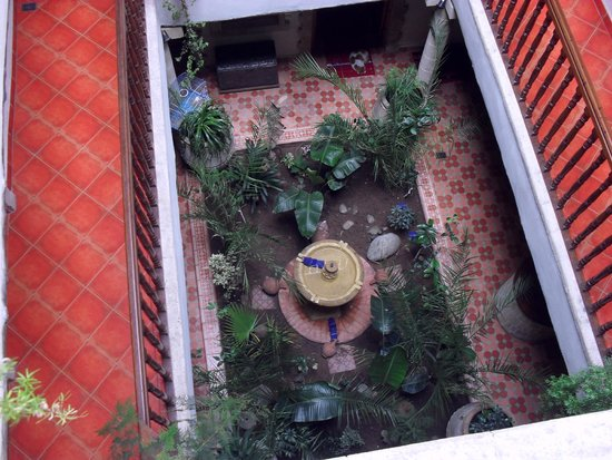 Riad Arambys: looking down from room to garden