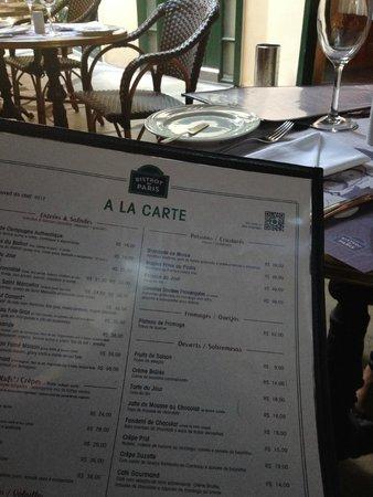 Bistrot De Paris : La carte