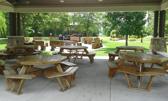 Marriott's Willow Ridge Lodge: Located directly outside main pool - firepit (background) hosted hot dog roast, smores