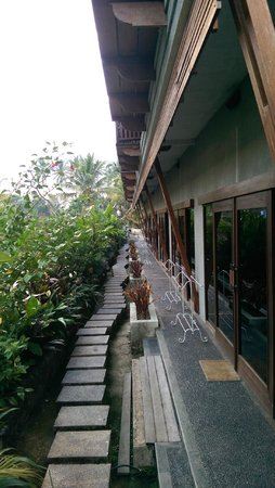Anini Raka Resort & Spa: Rice terrace walk way, patio door side