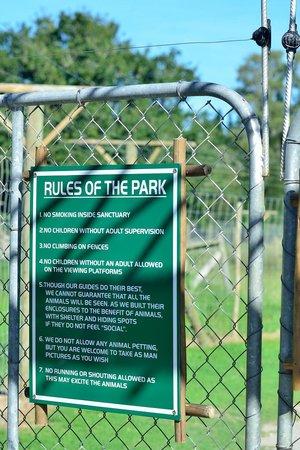 Jukani Wildlife Sanctuary: Les règles du parc