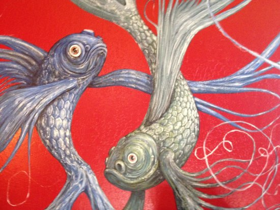 Java Hut : Fish Mural back room.