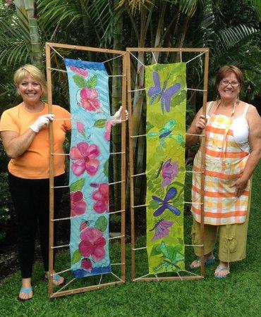 Barbara Rabkin Art Studio: Students display their hand painted silk scarves