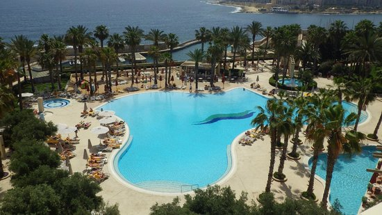 Hilton Malta : View from room of main pool