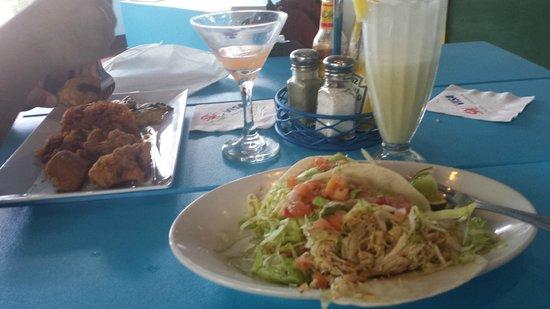 Pina Colada Club: chicken chicharrones and tacos