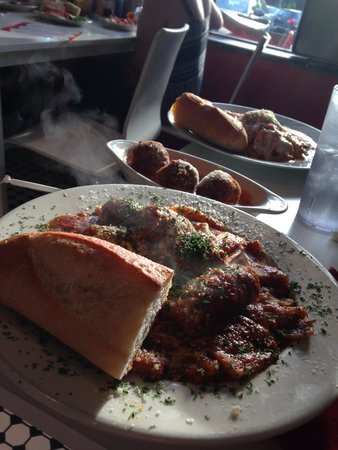 Marie's: Rigatoni with meatballs and sausage, rice balls in vodka sauce, and drunken chicken parmigiana!