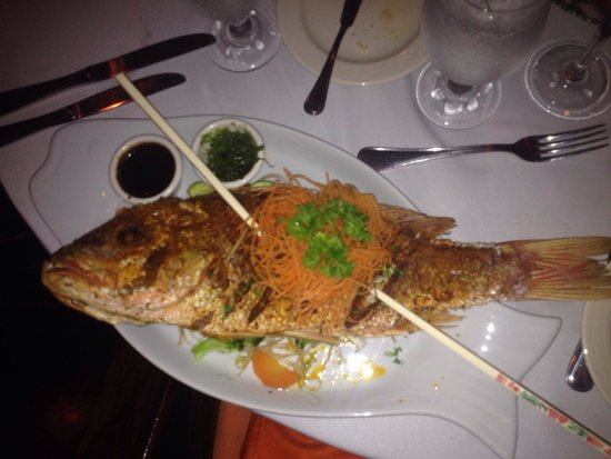 Restaurant Carambola Seafood & International Cusine: Whole red snapper.  Make sure you share this dish. Plenty for two. It was 2- 2 1/2 pounds!  Deli