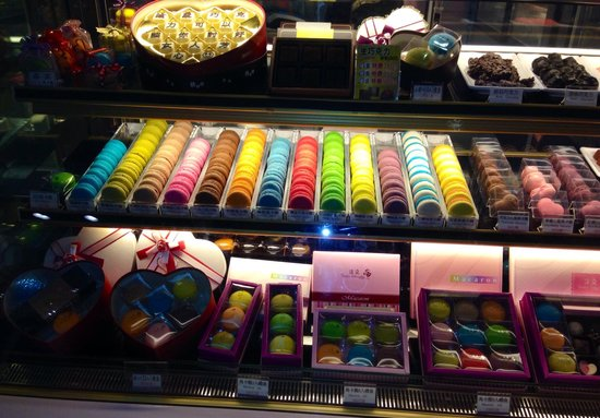 Colourful macarons at Dream Mall's B1 food hall