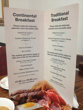 Grange Moor Hotel: Breakfast menu