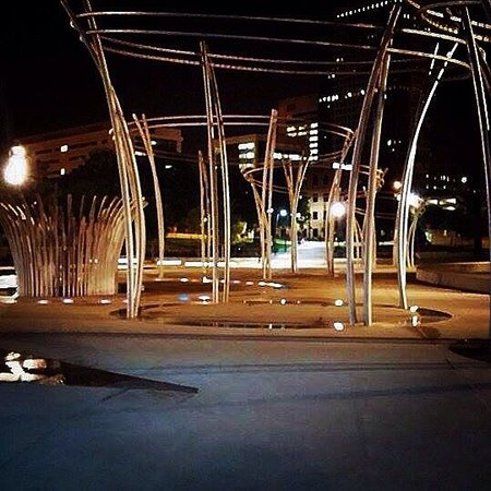 Scioto Mile: The water park at night.