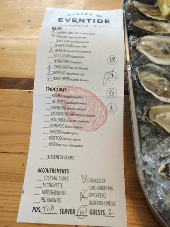 Eventide Oyster Company: Waitress's choices