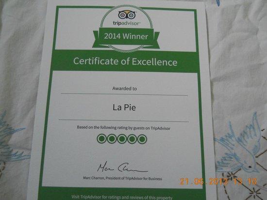La Pie: certificat d`excellence 2014