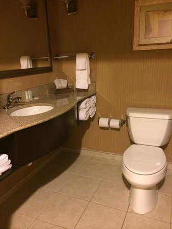Comfort Suites Commerce: Simple but clean bathroom in 2 queen suite with pullout couch