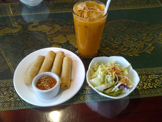 Our Thai House: Fried Spring Rolls and Salad come with lunch entrees