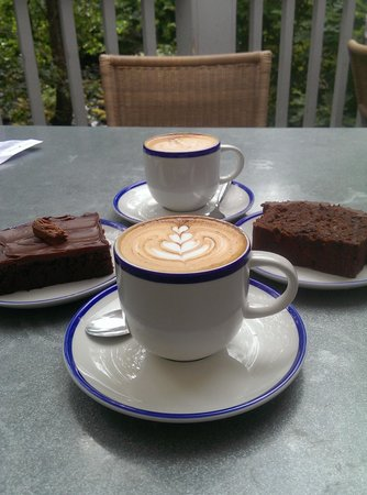 Chesters By The River: Cappucino, brownie (gluten-free) and chocolate, banana and rum loaf