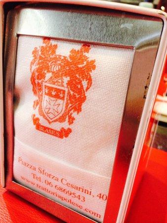 Trattoria Polese: Napkin with logo and name
