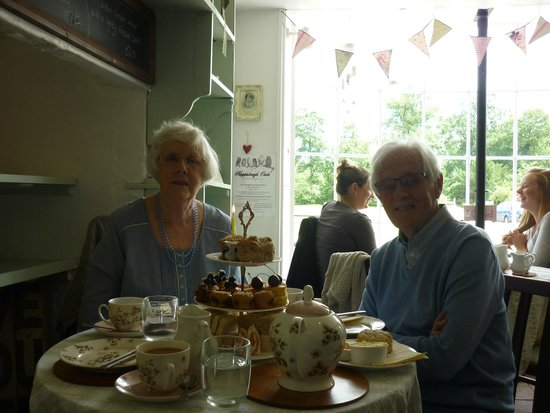Heydon Village Tea Shop: Mum and Dad (they even put a candle on the scone on the top)