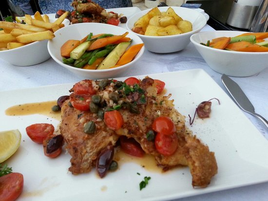 Ta' Karolina: Cippulaz in batter with potatoes and vegetables as one disire......it was just perfect cooked wi