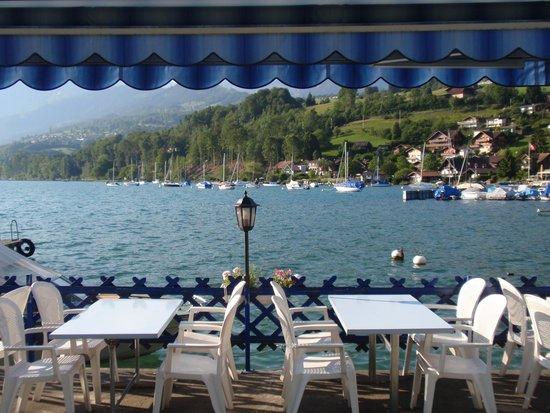 Strandhotel Seeblick: vanaf het terras van het hotel.