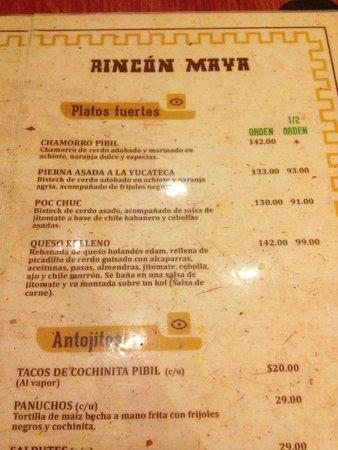 Rincon Maya: cardápio típico