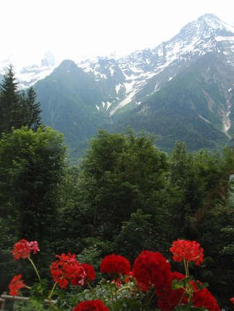 Hotel Les Campanules : uitzicht op de Mont Blanc.