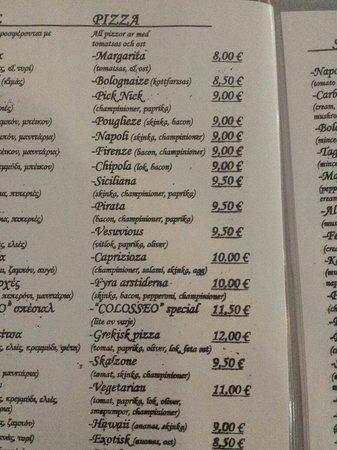 Colosseo Pizzeria Grill House : Se ti vuoi spacciare per un ristorante italiano, quanto meno dovrebbe essere obbligatorio scrive