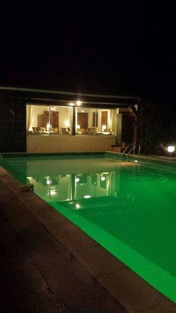 Hotel Restaurant Les Cedres : Vue du restaurant,  piscine éclairée
