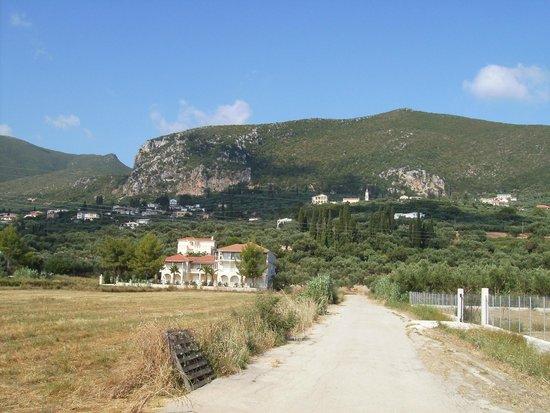 Nikos Studios: Viw of the mountain backrop.