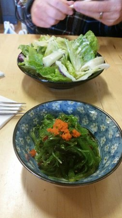 Sushi Mori : Seaweed salad and house salad.