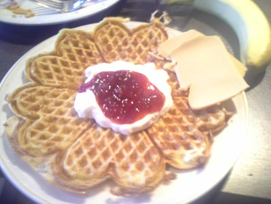 Clarion Collection Hotel With: Afternoon waffles served with yoghurt, jam and norwegian brown cheese