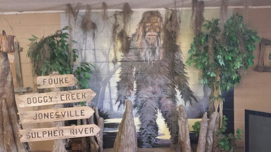 ‪‪Fouke‬, أركنساس: Painted mural of the Boggy Creek Monster.‬