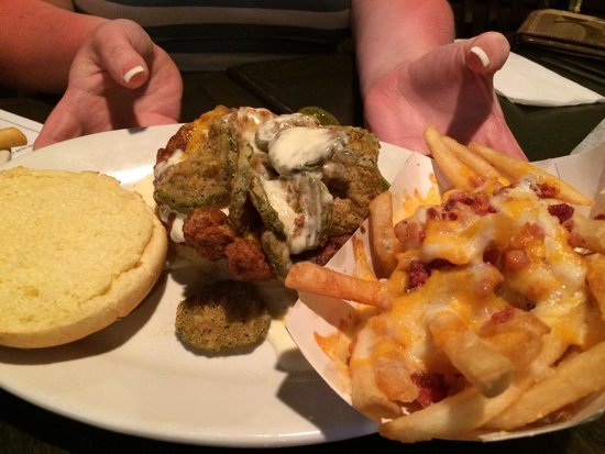 Fried pickles and cheese topped chicken sandwich! And ...