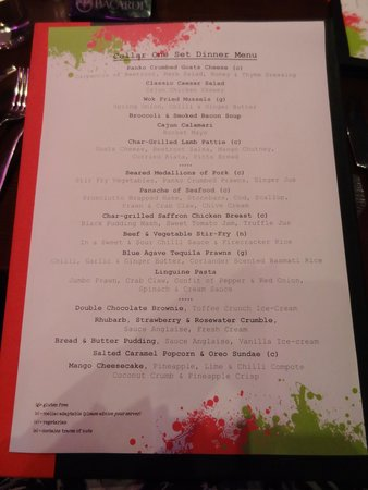 The Ross: The menu for the dining room - Great dinner!