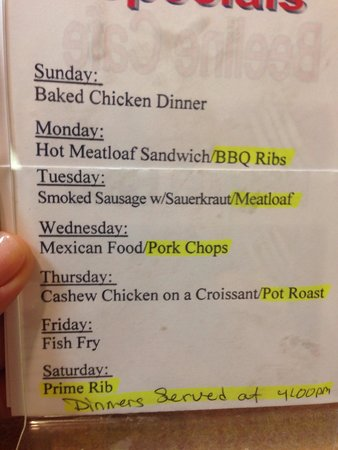 Beeline Cafe: Daily Specials as of June 2014