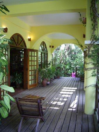 Hamanasi Adventure and Dive Resort: Main building porch, dining at night