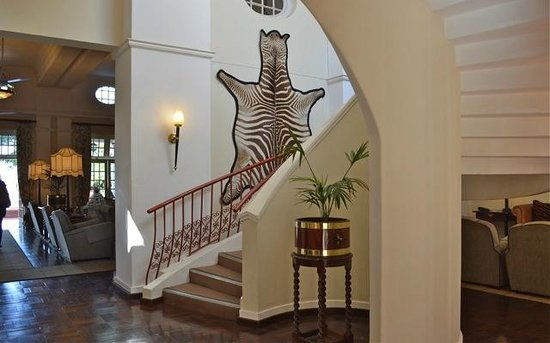 The Victoria Falls Hotel: Decor is heavy of hunting trophies