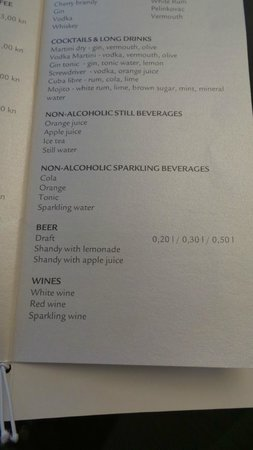 Park Plaza Histria Pula: Bar menu listing all inclusive drinks