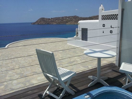 Myconian Imperial Resort : Our view, Taken from the spacious decking area with Jacuzzi,