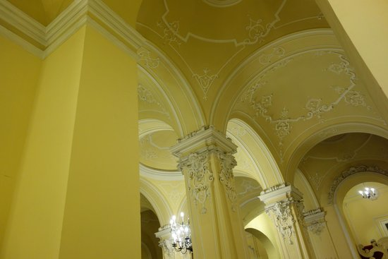 Danube Palace: Detail of the beautiful entrance hallway ceiling.