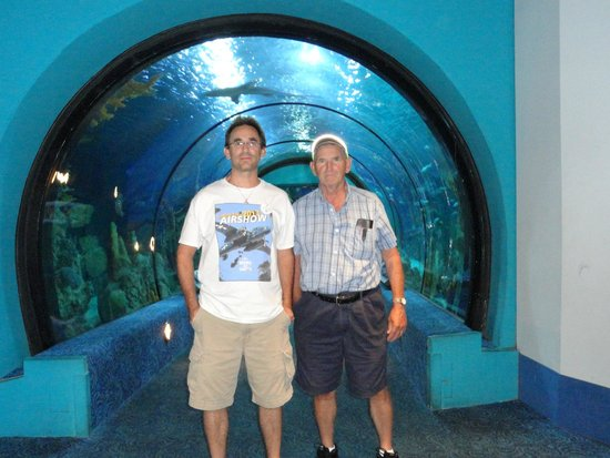 "Moody Gardens : Dad and I hanging out at the ""shark tunnel."""