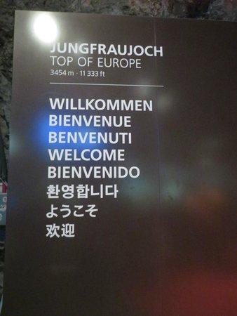 Jungfraujoch: Sign at the entrance