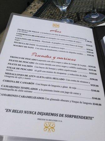 Belio Restaurant: menu